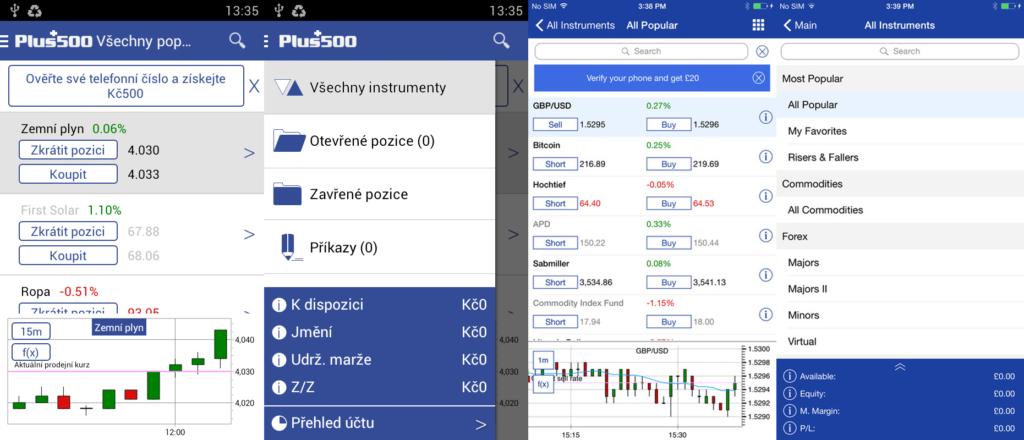 Plus500 platforma pro Android a iOS