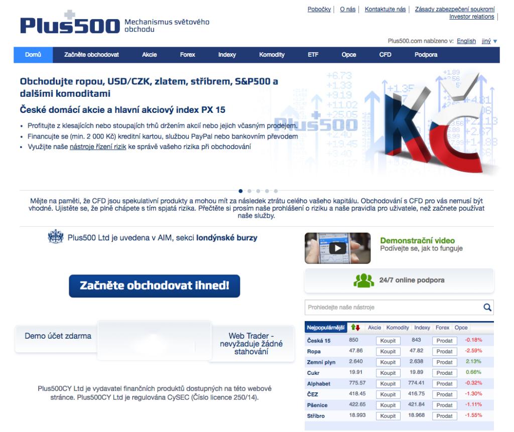 Hodnocení a zkušenosti - Plus500 webová stránka brokera
