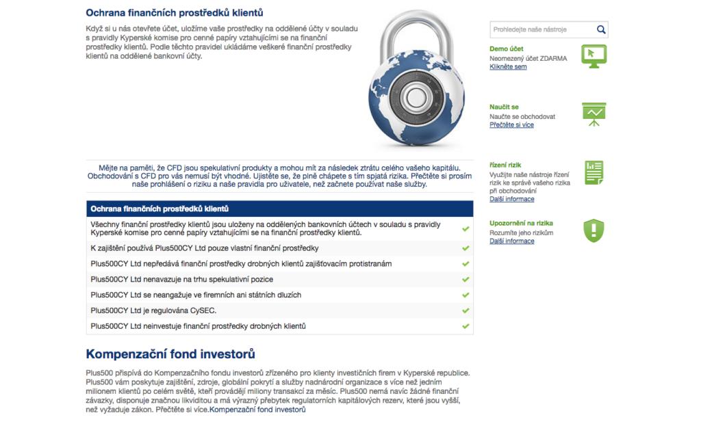 Informace vztahující se k ochraně finančních prostředků klientů (web brokera)