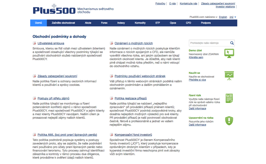 Obchodní podmínky brokera Plus500 jsou dostupné v angličtině