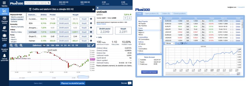 Srovnání: Nová vs. stará platforma Webtrader Plus500