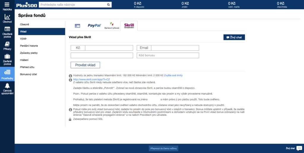 Výše maximálního a minimálního vkladu se zobrazují u jednotlivých platebních metod