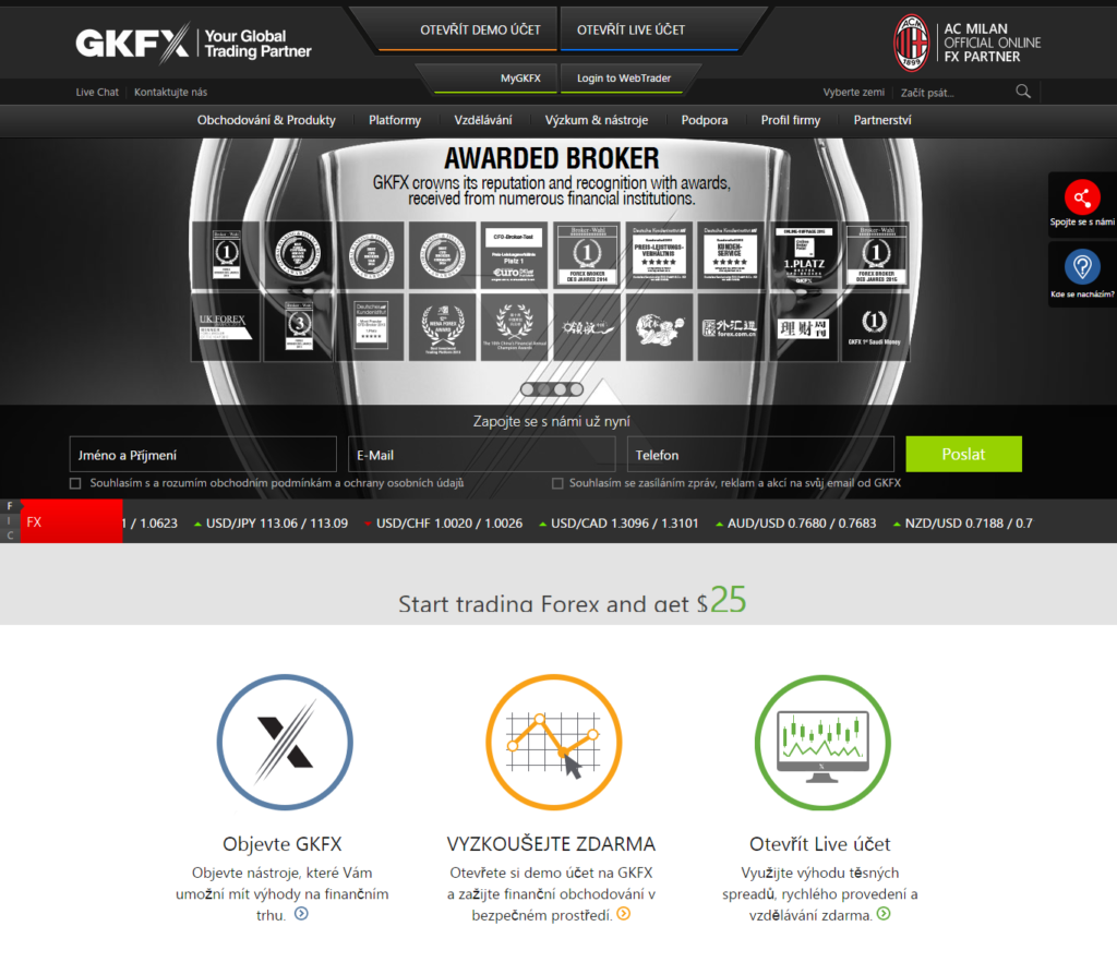 Web brokera GKFX