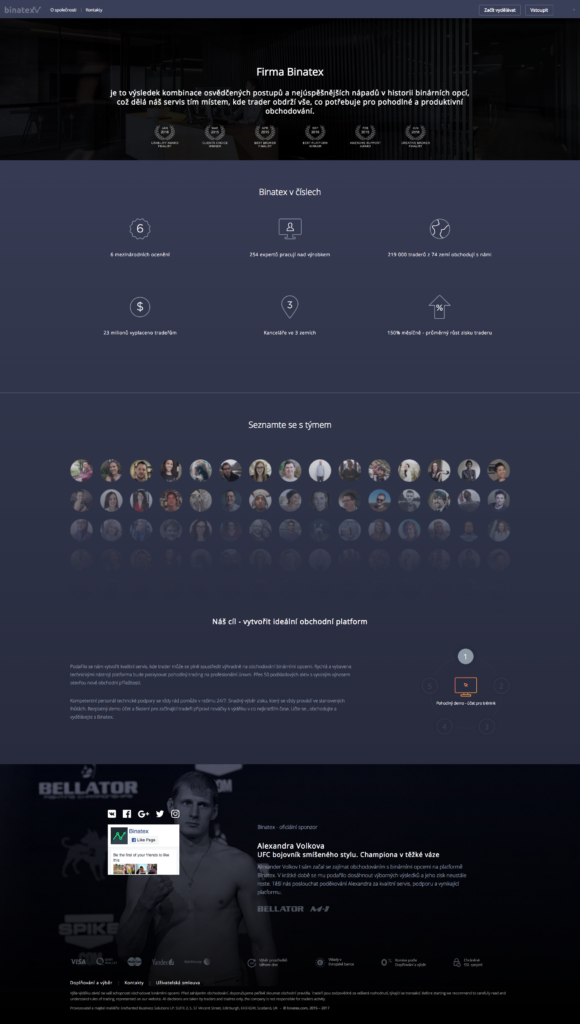 Binatex webová stránka brokera